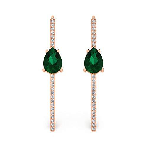 ASHNE JEWELS IGI Certified 0.17 Carat Round-Shape Natural Diamond (G-H Color, I1-I2 Clarity) 14K Rose Gold Hook Earrings For Women