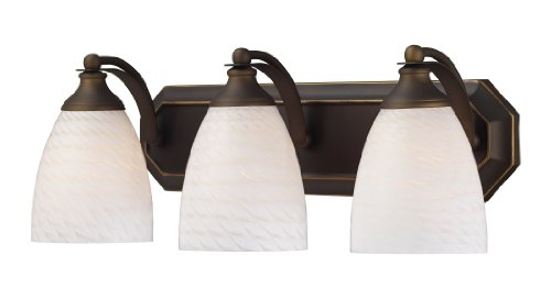 Elk 570-3B-WS 3-Light Vanity in Aged Bronze and White Swirl Glass