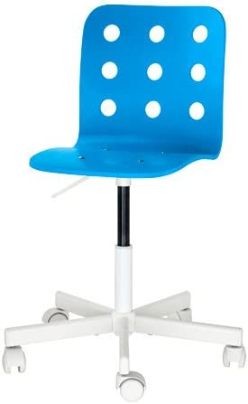 B0761HWNPH Children's Swivel Desk Chair ON CASTERS White Blue Adjustable Height 31TJCnvb2BwL.