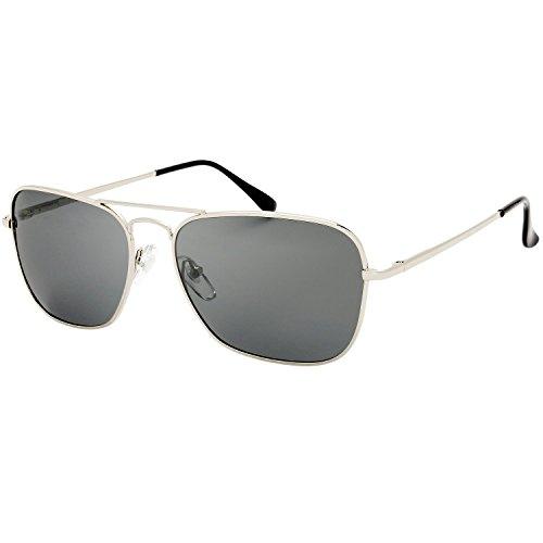 The Fresh Sunglasses for Men, Polarized, Rectangular Metal Frame, Ultra Lightweight, UV400 Protection (2-Silver, Grey) ()