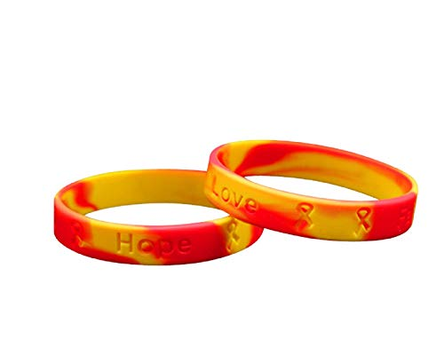 Fundraising For A Cause | Red & Yellow Silicone Bracelets/Wristbands – Inexpensive Red & Yellow Rubber Wristband for Awareness, Fundraising and Gift-Giving