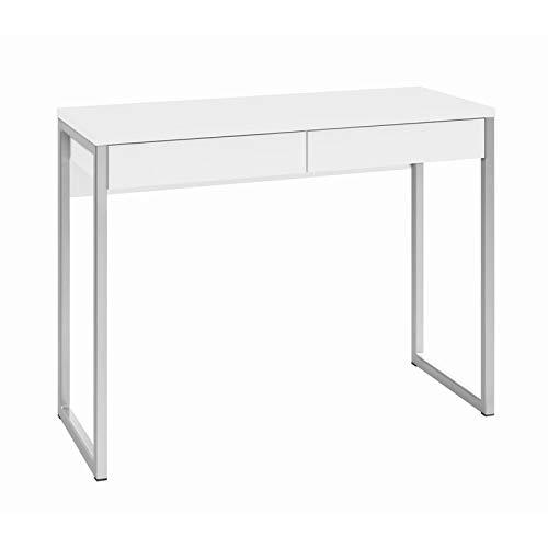TVILUM 80122uu Walker 2 Drawer Desk, White High Gloss