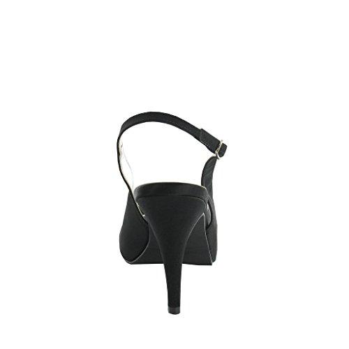 mujer para negro satén de talla 36 color de Zapatos LEXUS vestir 6qgYPH