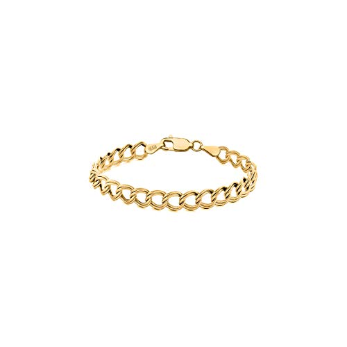 (Orostar 14K Solid Gold 4mm Double Link Charm Bracelet, 7