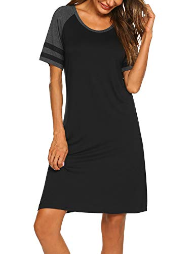 - Hotouch Nightgowns Womens Cotton Night Shirts Short Sleeve Sleep Dress Black L