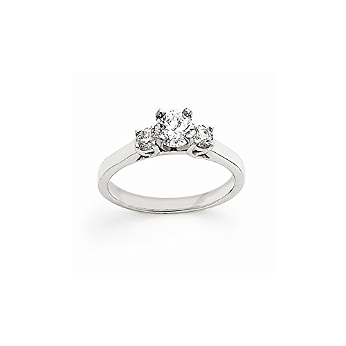 14k White Gold .22ct. Diamond Three Stone Ring Semi-Mounting, No Center Stone (3 Stone Diamond Ring Mounting)