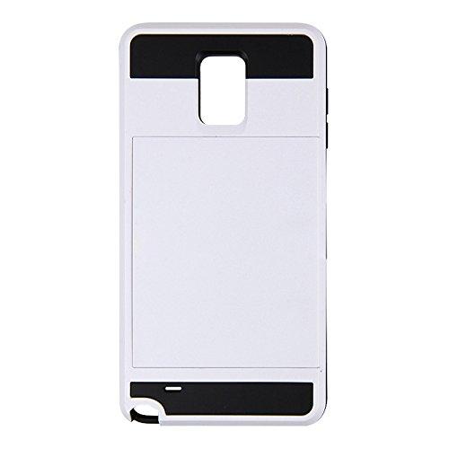 Telefon-Kasten - TOOGOO(R)Karte Tasche Stossfeste Duenne Hybrid Mappe Abdeckung fuer Samsung Galaxy Note 4 Weiss