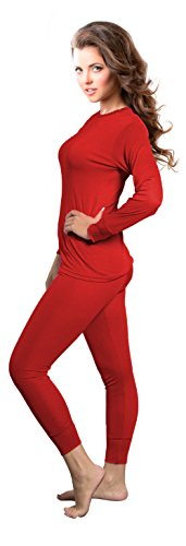 Rocky Womens Thermal 2 Pc Long John Underwear Set Top and Bottom Smooth Knit (Small, Red)