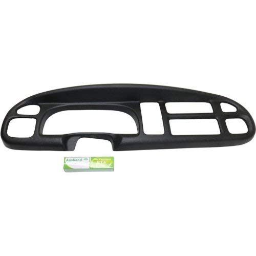 Black Plastic Dash Board Bezel Cover Cap Overlay Fits 1998-2002 Dodge Ram 1500 2500 3500 (COVER ONLY, NOT A REPLACEMENT BEZEL)