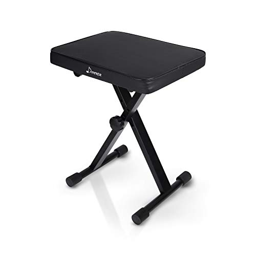 Donner Adjustable Piano Keyboard Bench, X-Style Bench Stool Chair Seat High-Density Sponges Non-Skid Design, Black