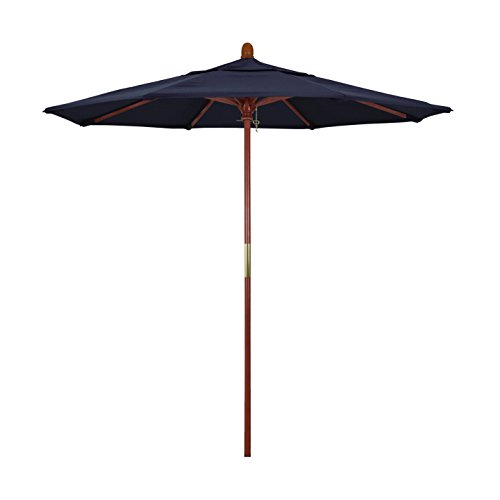 (California Umbrella 7.5' Round Hardwood Frame Market Umbrella, Stainless Steel Hardware, Push Open, Olefin Navy Blue )
