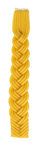 Braided Beeswax Havdalah Candle - Hand Dipped Bees Wax with Extra Thick Rounded Braid - Shabbat Judaica Gift - By Ner Mitzvah