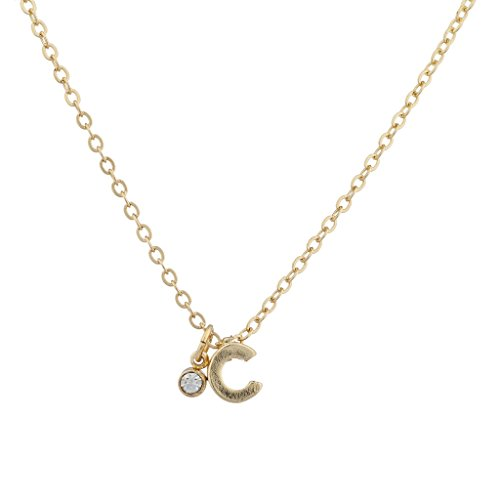 Lux Accessories Goldtone Personalized C initial Charm Pendant Necklace (Gold Tone Initial Letter)