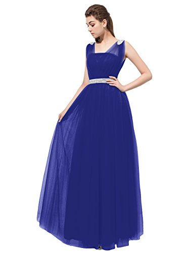Dresstells®Vestido De Mujer Largo Fiesta Madrina Dama De Honor Sin Mangas Azul Real