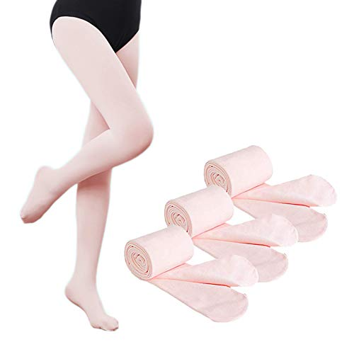 Dejian Girl's Tights Ballet Soft Footed Tight Super Elasticity Pantyhose In Children's Ballet Dance Dress (12-14 year old, 3 Pack Ballet Pink) ()