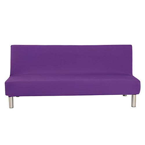 Eleoption Armless Sofa Covers Stretch Fabric Sofa Slipcovers Folding Sofa Bed for Living Room Moving Furniture Protector Couch Futon Cover (Purple)