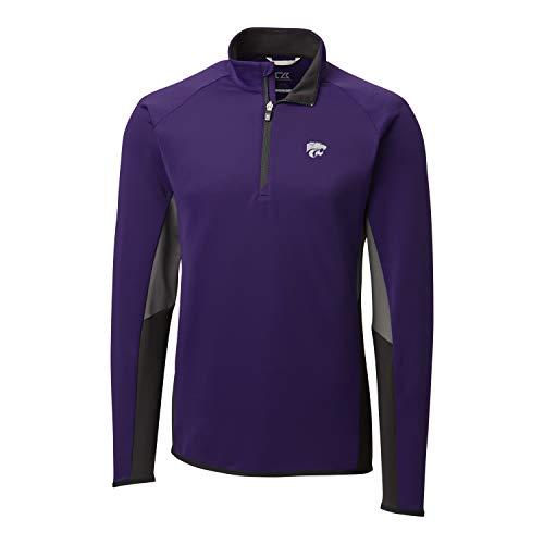 Cutter & Buck NCAA Kansas State Wildcats Mens Long Sleeve Traverse Colorblock Half Zip, College Purple, Large
