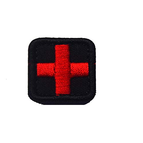 (Hook and Loop Fastener Embroidered Badges Fabric Armband Stickers Tactical Embroidery Mini Color Red Cross Medical Patch Bundle 10 Pieces)