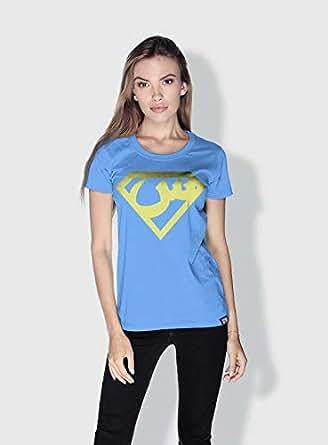 Creo Arabic Superman Logo Trendy T-Shirts For Women - S, Blue