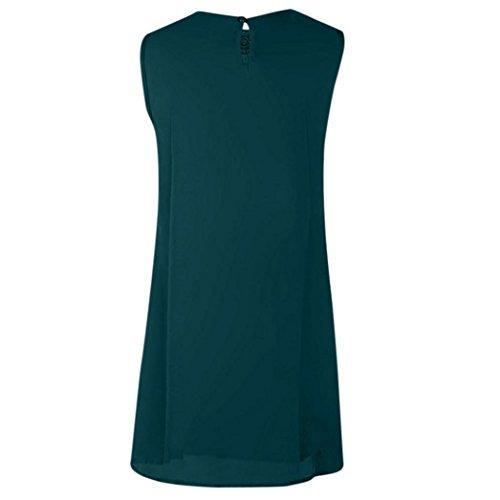 vestido Vestido de Gasa mujer para mini casual O costura Dragon868 de niñas mujeres encaje cuello mangas Las sin de Verde de verano AAwqgB