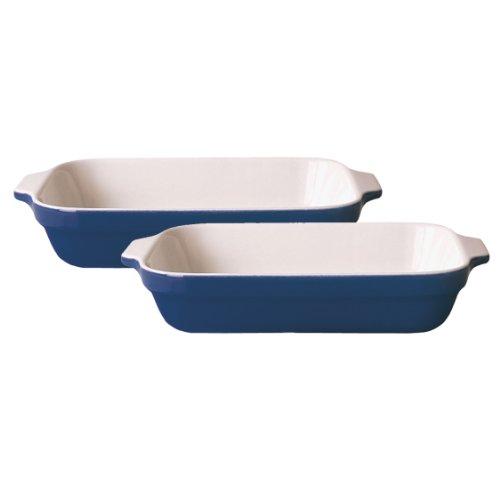 Emile Henry Provencal 8-1/2-by-5-1/2-Inch Lasagna Baker, Set of Two, Azure Blue