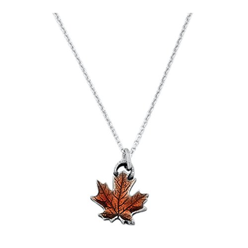 (DANFORTH - Maple Leaf/Autumn Mini Necklace - Pewter Pendant - Handcrafted - 17 Inch Chain - Made in USA)
