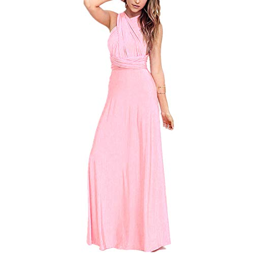 - Women's Transformer Convertible Multi Way Wrap Long Prom Maxi Dress V-Neck Hight Low Wedding Bridesmaid Evening Party Grecian Dresses Boho Backless Halter Formal Cocktail Dance Gown Pink Small