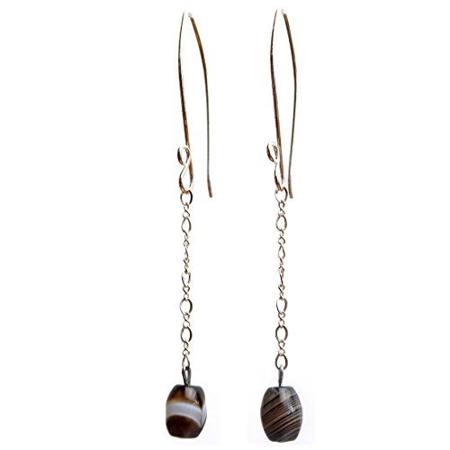Sterling Silver Banded Bead (Satin Crystals Sardonyx Earrings 3.2