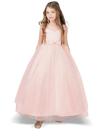 Pink Satin Party Dress (TTYAOVO Girl Sleeveless Chiffon Embroidered Tulle Wedding Party Gown Girls Dress Size 6-7 Years Pink)