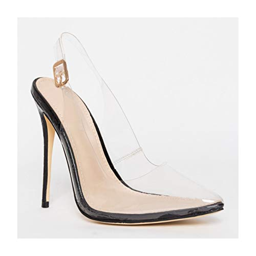 Hell&Heel Clear Slingback Stiletto Court Shoes Black US -