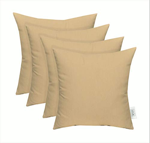 RSH Décor Set of 4 Indoor/Outdoor Square Throw Pillows Sunbrella Canvas Vellum (20