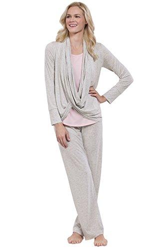 PajamaGram Soft Jersey Women's Pajamas with Wrap Top, 3pc PJ Set, Gray, 1X (Pant Set Comfy Wrap)