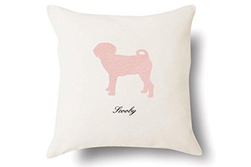Personalized Puggle Pillow - Silhouette Felt Appliqué - 100% Off-White Cotton - 4 Color Choices - Blue Green Pink Tan - 18x18