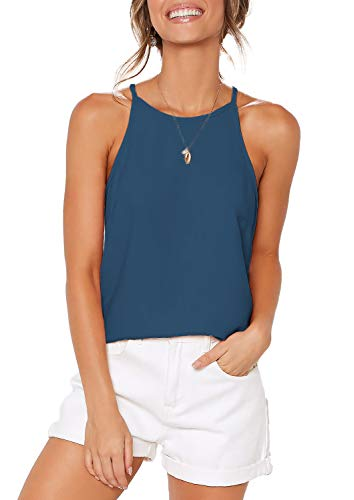 ZJCT Womens Summer Shirts Halter Sleeveless Racerback Tank Tops Beach High Neck Tee Shirts Spaghetti Strap Casual Tops Blouses Blue M ()