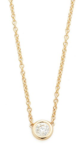- Zoe Chicco Women's 14k Gold Bezel Diamond Short Pendant Necklace, Gold/Clear, One Size
