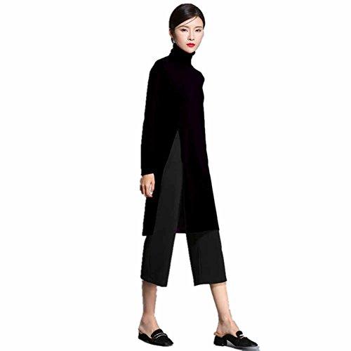Womens Side Split Sweater Dress Winter Sweaters Tunic Tops Cashmere Wool Fashion Turtleneck Pullover (M, (Split Neck Sweater Dress)