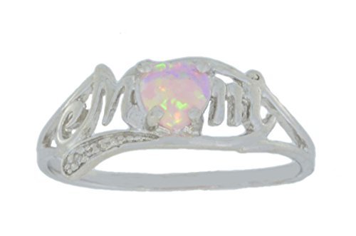 Elizabeth Jewelry Simulated Pink Opal & Diamond Heart MOM Ring .925 Sterling Silver Rhodium Finish
