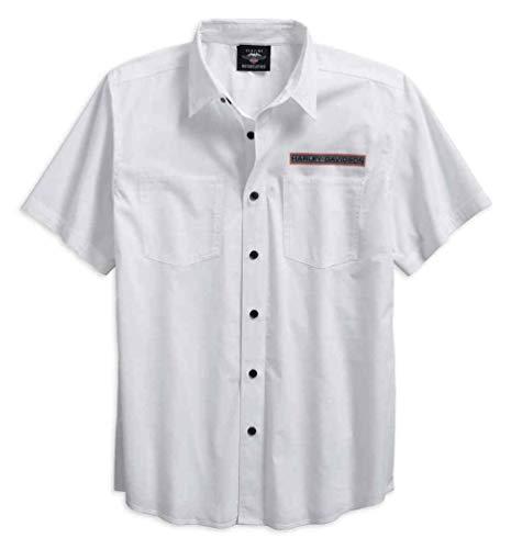 - Harley-Davidson Men's Textured Dobby Print Logo Button Up Shirt 96125-18VM (XL) White