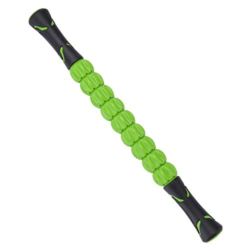 QERI Muscle Stick Massage Roller, Sports Massage Roller Stick, Muscle Roller Massager for Relief Muscle Soreness, for Athletes Trigger Points Release (Green)