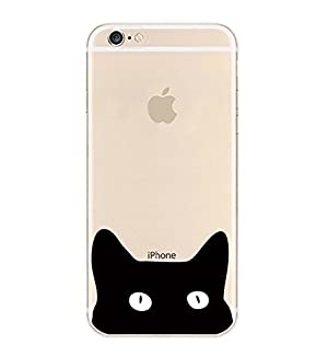 iPhone 7 , Colorful Rubber Flexible Silicone Case Bumper for Apple Clear Cover - Black Cat