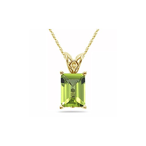 - 0.75 Cts of 6x4 mm AAA Emerald-Cut Peridot Scroll Solitaire Pendant in 14K Yellow Gold