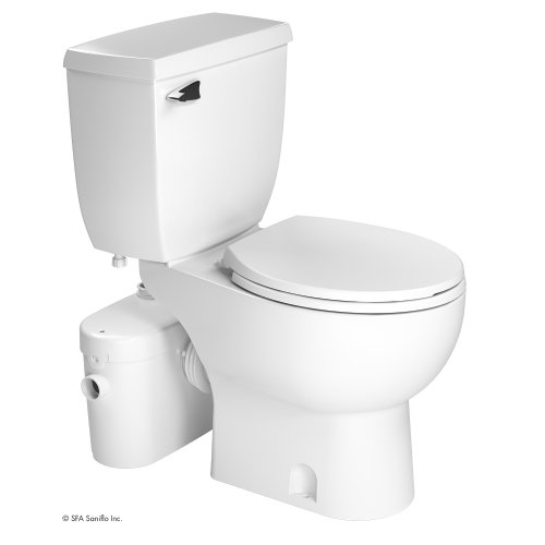 SANIFLO SANIACCESS 2 UPFLUSH MACERATOR PUMP + ROUND TOILET KIT, WHITE FINISH