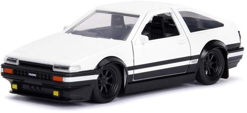 (Jada Toyota Trueno Ae86 White Black Bottom Initial D First Stage (1998) TV Series Hollywood Rides Series 1/32 Die-cast Model Car 99801)