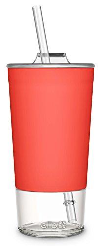 Ello Tidal Glass Tumbler with Straw, 20 oz, Coral
