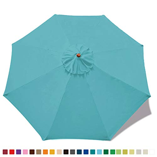 Teal Replacement - MASTERCANOPY Replacement Market Umbrella Canopy for 9ft 8 Ribs (Canopy Only) (Turquoise)