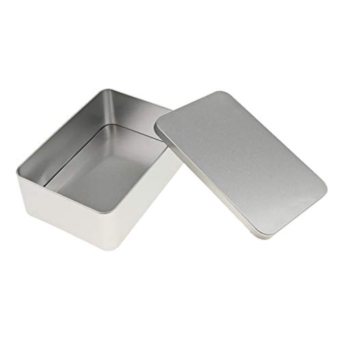 - Fenteer Silver Rectangular Empty Tin Box Containers, Gift, Jewelery and Storage Tin Kit, Home Organizer