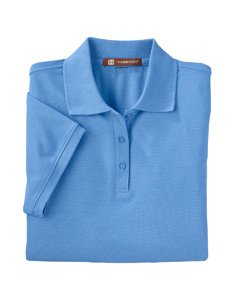 LIGHT COLLEGE BLUE Easy Blend Plus Polo L Ladies 5 oz Ble. Ladies 5 oz