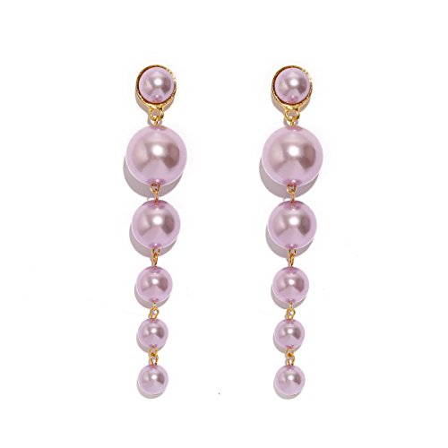 (MOOCHI Pink Simulated Pearl Beads Long Dangle Trendy Earings Elegant String Statement Wedding Party Gift for Women )