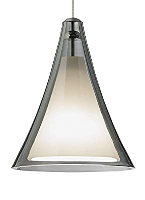 Tech Lighting 700MO2MMLKC Mini Melrose II - One Light Two-Circuit MonoRail Low-Voltage Pendant, Chrome Finish with Smoke Glass