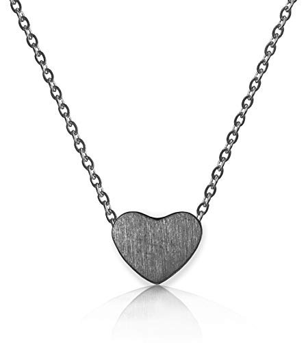 (Altitude Boutique Simple Heart Necklace for Her, Pendant Love Choker (Gold, Silver, Rose Gold) (Black))